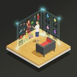 Augmented Reality Isometric Composition. Woman choosing dress and makeup in augmented reality glasses isometric composition on black background 3d vector Royalty Free Stock Images