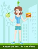 Woman choosing between eat apple or hamburger Stock Images