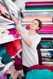 Woman choosing fabric. Young female shopper searching for suitable fabric in drapery shop Royalty Free Stock Photo