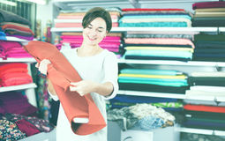 Woman choosing fabric. Young female shopper searching for suitable fabric in drapery shop Royalty Free Stock Image