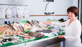Woman choosing fish in store Stock Photos