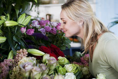 Woman choosing flowers in a florist's shop Stock Image