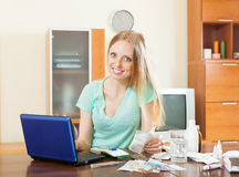 Woman choosing medication online pharmacy Stock Photos