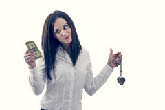 Woman choosing money not love, isolated on white Stock Photos