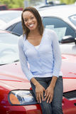 Woman choosing new car Royalty Free Stock Photography