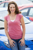 Woman choosing new car Stock Photo