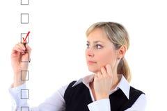 Woman choosing one of three options Stock Image