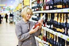 Woman choosing pink wine Stock Photos