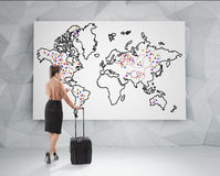 Woman choosing a place to go Royalty Free Stock Photo
