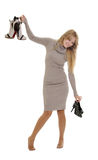 Woman choosing shoes Royalty Free Stock Photo