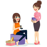 Woman Choosing Shoes. Beautiful brunette woman choosing a pair of black fashionable high heels shoes with assistance from sales clerk vector illustration