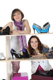Woman choosing shoes at a store Royalty Free Stock Photo