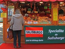 Woman is choosing something to buy in Bergamo Stock Photos