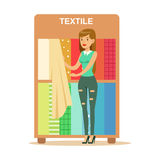 Woman Choosing Textile Drapers, Smiling Shopper In Furniture Shop Shopping For House Decor Elements Stock Image