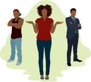 Woman Choosing Between Two Men vector illustration