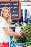 Woman choosing vegetables at the market royalty free stock photo