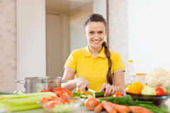 Woman chopping  vegetables at  kitchen Stock Images
