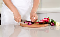 Woman chopping fresh vegetables Royalty Free Stock Photo