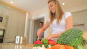 Woman chopping vegetables Royalty Free Stock Images