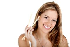 Woman with chopsticks Stock Photos