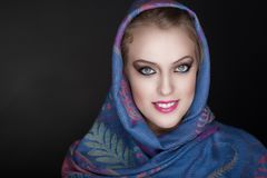 Woman Christian scarf. Young beautiful woman portrait. Christian religious scarf accessory Stock Image