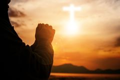 Woman christian worship. Eucharist Therapy Bless God Helping Repent Catholic Easter Lent Mind Pray. Christian Religion concept background. fighting and victory stock photography