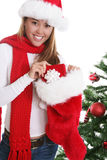 Woman at Christmas Stock Images
