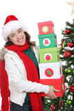 Woman at Christmas Royalty Free Stock Photo