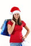 Woman and christmas bags Royalty Free Stock Image