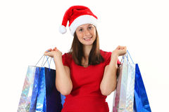 Woman and christmas bags Royalty Free Stock Images