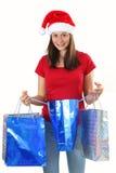 Woman and christmas bags Stock Photo