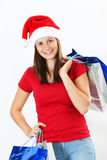 Woman and christmas bags Royalty Free Stock Photography