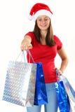 Woman and christmas bags Stock Photography