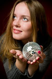 Woman and christmas ball Stock Photo