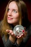 Woman and christmas ball Stock Photo