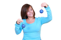 Woman with Christmas balls Stock Photo