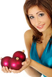 Woman with christmas balls Stock Photos