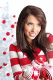 Woman with christmas balls Royalty Free Stock Image