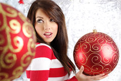 Woman with christmas balls Stock Photography