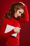 Woman with christmas box gift Stock Images