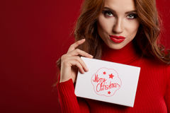 Woman with christmas box gift Stock Photos
