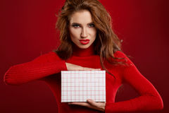 Woman with christmas box gift Stock Image
