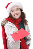Woman and Christmas Card Stock Image
