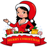 Woman with Christmas costume and banner Stock Image