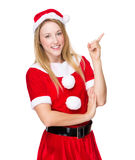 Woman with christmas costume and finger point up Royalty Free Stock Photo