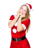 Woman with christmas and funny expression Royalty Free Stock Photography
