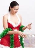 Woman with christmas gift stock photo