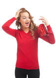 Woman with Christmas gift. Pretty excited woman with christmas gift. Happy surprised woman with gift bag Stock Photo