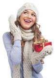 Woman with Christmas gift Royalty Free Stock Image
