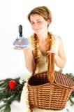Woman and Christmas gift Royalty Free Stock Photos